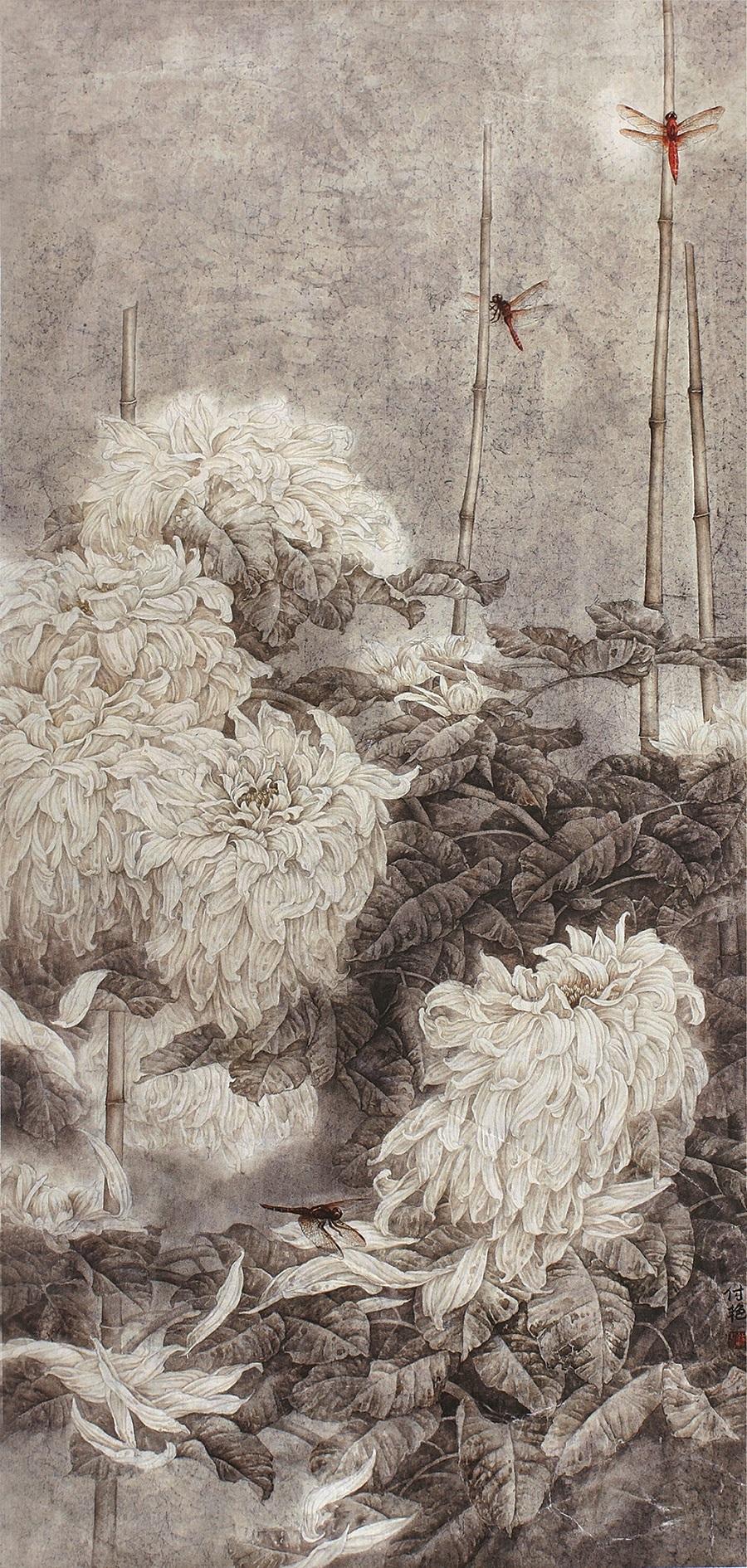 《华露秋芳》 中国画 2007年 全国小幅工笔重彩作品优秀奖63-130.jpg