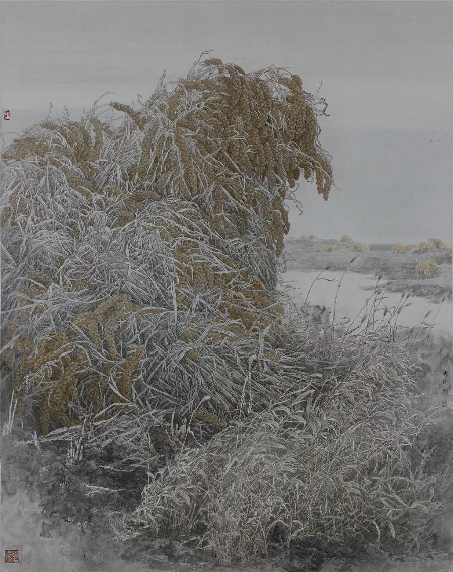 付艳 中国画 艳阳秋入选第十二届全国美展 220×172cm.jpg