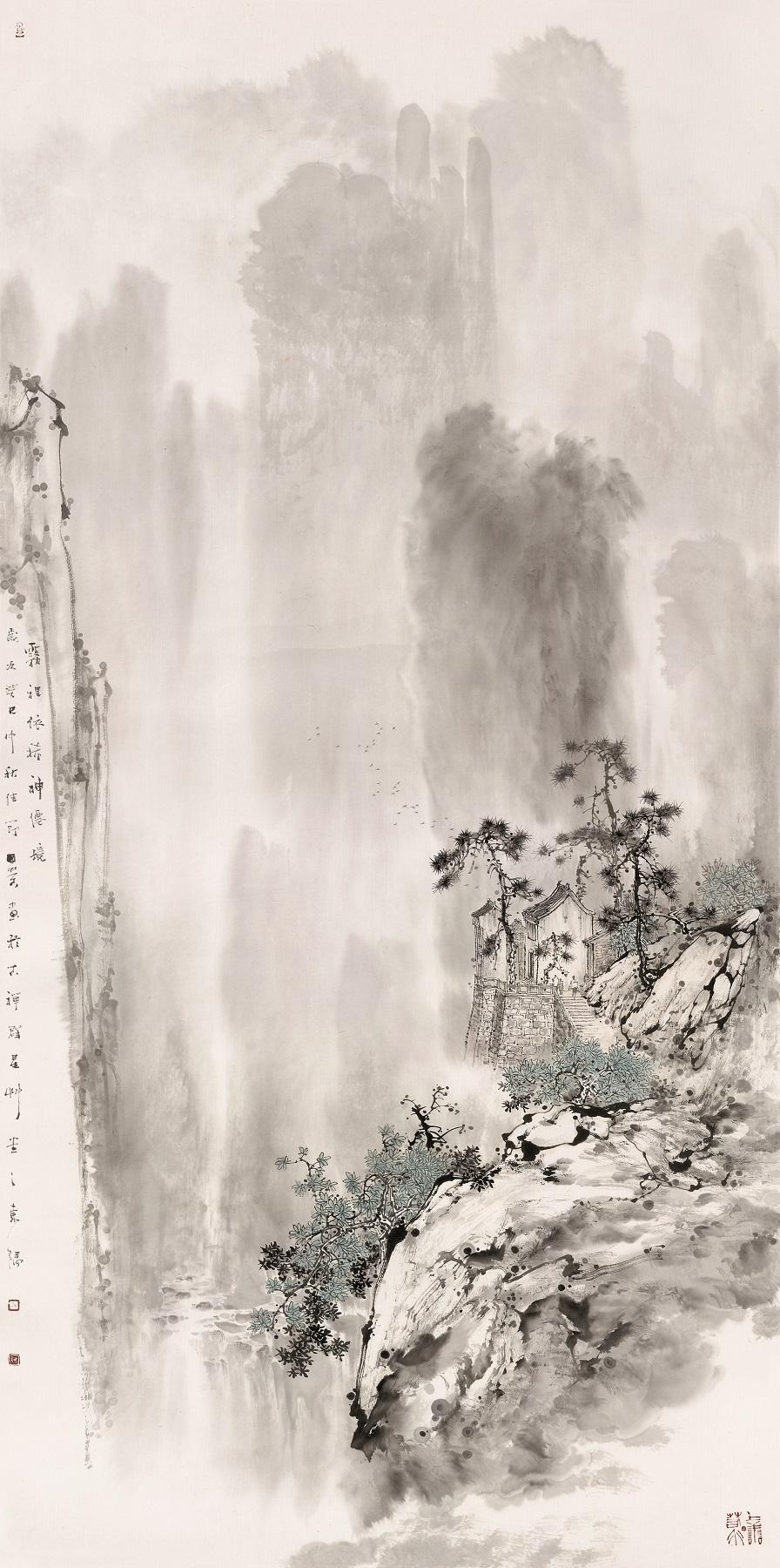 雾里依稀神仙境      2013年   138cmX70cm   纸本水墨.jpg