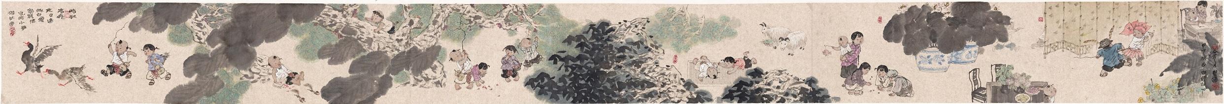 岑圣权《儿时拾趣卷》420×35cm,13平尺.jpg